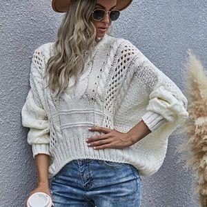 cream oversized chunky knit mock neck sweater